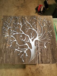 """My New recycled barn wood with metal tree heart design 20""""x21"""" made to order https://www.facebook.com/Mindwerks-Metalcraft-custom-welding-fabrication-363635832828/"""