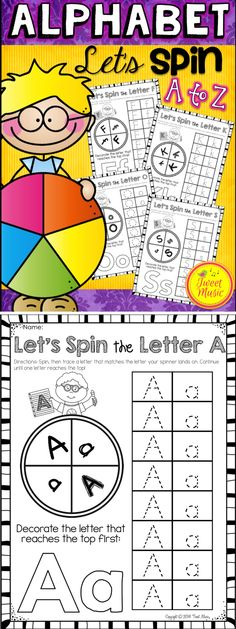 Let's Spin the Letter Of The Week! In this popular activity, students are to use a pencil and a paperclip to make a spinner and then graph uppercase and lowercase Letter Of The Week. $