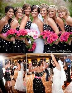 Love the black  white polka dots with the splash of hot pink! bozo