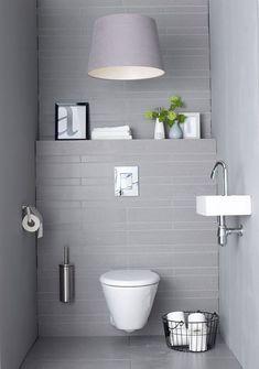 Small Minimalist Bathroom Design: So Can A Comfortable Guest Toilet Design Guest Toilet, Downstairs Toilet, Bathroom Toilets, Laundry In Bathroom, Bathroom Laundry, Bad Inspiration, Bathroom Inspiration, Bathroom Interior, Modern Bathroom