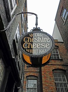 The Cheshire Cheese ReBuilt 1667 Just off Fleet Street; this pub has \been around for some time and it retains an 'Olde London' atmosphere. Dr Johnson's House is just around the corner and it's highly possible he would have come here (though there London City, London Pubs, Old London, London Style, London Places, British Pub, British Isles, Pub Signs, Shop Signs