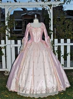 'Phantom of the Opera' style Marie Antoinette gown with bustle and flowers -  by Romantic Threads on Etsy