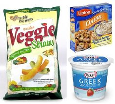 An awesome & equally delicious alternative to 'chips and dip' - mix one pack onion soup mix w/ one container plain greek yogurt & use veggie straws for dipping (250 calories per 68 straws) SO GOOD!
