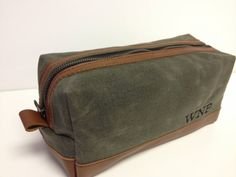 Personalized Toiletry Bag Canvas and Leather Travel Bag Shaving Bag Gift for Man Dopp Kit on Etsy, $85.00