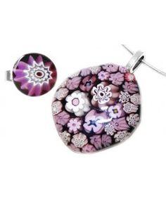 Zwart-roze-paarse sieradenset handgemaakt van millefiori glas! Set van ketting met glashanger en bijpassende verstelbare glazen ring!