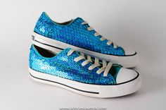 52141476f1210d Used - Aqua Blue Sequin Converse All Star Lo Top