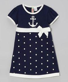 Loving this Navy Polka Dot Anchor Babydoll Dress - Infant, Toddler & Girls on #zulily! #zulilyfinds