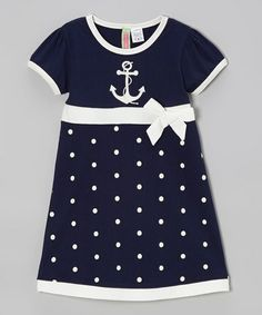 Another great find on #zulily! Navy Polka Dot Anchor Babydoll Dress - Infant, Toddler & Girls #zulilyfinds