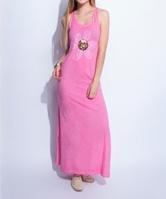 Another great find on #zulily! Pink Flower Embellished Maxi Dress #zulilyfinds