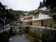 Ginzan Onsen Fujiya: a traditional Japanese hot spring inn in Yamagata, with modern updates. Modern Japanese Architecture, Japanese Modern, Art And Architecture, Traditional Japanese, Bamboo Architecture, Tokyo Design, Japan Design, Facade Lighting, Yamagata