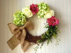 Pink green and cream floral wreath with by YourHandmadeWreath