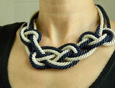 Navy Blue and Ivory Sailor Knot Necklace, fiber/cord necklace, Japanese/chinese knot, birthday for her, anniversary gift for her. $17.00, via Etsy.
