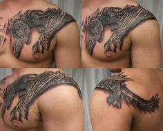 Dragon tattoo from back, over the shoulder and on to the chest.