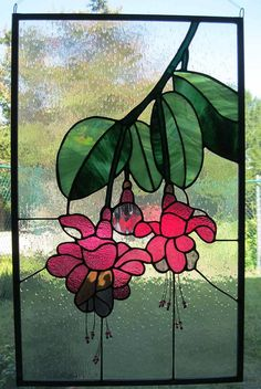 Stained Glass Panel  Fuschia por Nanantz en Etsy
