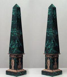 French Empire accessories obelisk malachite