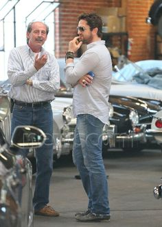 Gerard Butler looks at classic antique automobiles at Heritage Classic Company. Los Angeles, California - Feb 28, 2014 Credit: WENN.com