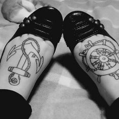 can't say that I'd get this done, but it looks pretty cool Foot Tattoos, Arm Tattoo, New Tattoos, Tatoos, Calf Tattoos, Ship Tattoos, Arrow Tattoos, Tattoo Small, Tattoo Flash