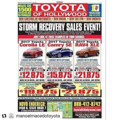 Credit to #manoelmacedotoyota  Compre agora seu Toyota 0km! Mais de 1500 veículos em promoção na Toyota of Hollywood na campanha de descontos pós-furacão. Estou aqui para te receber com atendimento especial em português e com condições imperdíveis! Ligue agora mesmo: (954) 562-3868  #toyota #toyotaofholywood #letsgoplaces #manoeldatoyota    #HollywoodTapFL #HollywoodFL #HollywoodBeach #DowntownHollywood #Miami #FortLauderdale #FtLauderdale #Dania #Davie #DaniaBeach #Aventura #Hallandale…