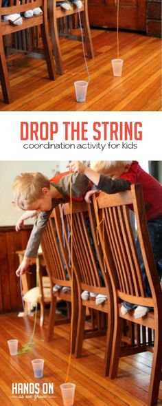 What string do you think will be the easiest to get into the cup? A long one or a shorter one? Amazing coordination activity for kids via @handsonaswegrow