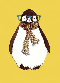 """Hipster Penguin"" print by Talula Christian. Admit it, you *know* they're cooler than you..."