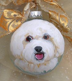 Bichon+Frise+Hand+Painted+Clear+Glass+Ornament+by+LisaDeFeoArt,+$28.00