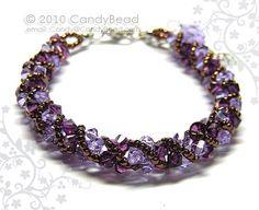 Purple and Lavender Twisty Swarovski Crystal Bracelet by candybead, $15.00