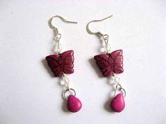 Coral, Burgundy Color, Teardrop Earrings, Butterfly, Jewelry, Gift, Women, Jewlery, Jewerly