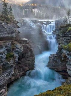 Athabasca Falls, south of Jasper, Canada. Banff & Jasper National Parks contain some of the most spectacular scenery on Earth and some of my favorite hiking areas. Beautiful Waterfalls, Beautiful Landscapes, Natural Waterfalls, Places To Travel, Places To See, Travel Destinations, Places Around The World, Around The Worlds, Beautiful World