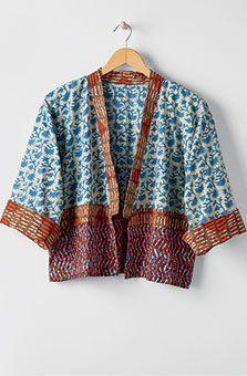 Sikkim Jacket - Chambray, Jackets: MarketPlace Handwork of India Misses Clothing, Mode Kimono, Batik Fashion, Knitting Blogs, Indian Designer Outfits, Petite Outfits, Handmade Dresses, Textiles, Clothes For Women