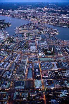 stockholm, night, aerial photo, stockholm city.