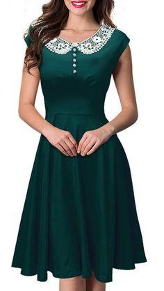 Noble Peter Pan Collar Cap Sleeve Lace Spliced Dress