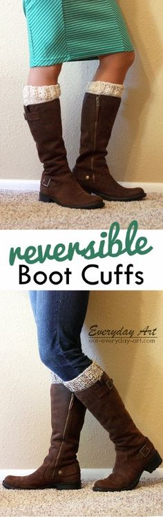 Free Reversible Knit Boot Cuff Pattern by Everyday Art