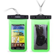 "DandyCase Neon Green Waterproof Case for Apple iPhone 5, Galaxy S4, HTC One, iPod Touch 5 - Also fits other Large Smartphones up to 5.3"" Including Galaxy S3, HTC One X/X+, Droid RAZR/MAXX, Nexus 4, EVO 4G LTE, Droid Incredible, LG Optimus G, Nokia Lumia, Droid DNA, Windows Phone 8X - IPX8 Certified to 100 Feet [Retail Packaging by DandyCase]"