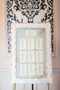 DIY distressed framed seating chart. Photography by craigevasanders.com,
