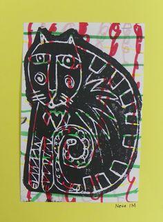 Gr. 1: Laurel Burch Cats  marker pattern background, foam print over