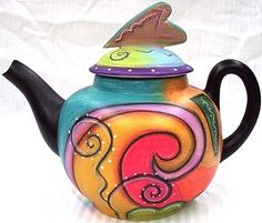 Living Color - Colorful Abstract Teapot by Double Creek Pottery Ceramic Tableware, Ceramic Teapots, Ceramic Pottery, Teapots Unique, Vintage Teapots, Teapots And Cups, Teacups, Tea Pot Set, Tea Sets