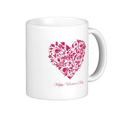 Romantic flowery red Valentine´s Day Heart Mug