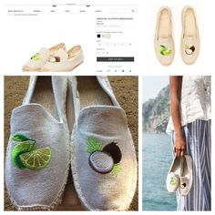"""Soludos Embroidery Lime & Coconut Sand Espadrilles Named after one of our favorite songs (and drinks), this custom designed and embroidered espadrille is inspired by the eternal soundtrack of summer, """"Put the Lime in the Coconut."""" Sure to have you craving summer sun, sandy shores, and a fruity drink. An all-natural sand colored canvas upper is embroidered with a matching lime and coconut & features an eco-friendly jute sole that breathes easily in summer heat. 100% cotton canvas upper. Twill…"""