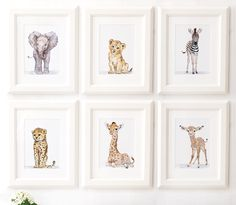 Safari Nursery Print set of 6, Safari animals , African Baby Animal Prints, Giclee, African Animal Art, Safari Nursery Art by ElfinLilac on Etsy https://www.etsy.com/listing/464220503/safari-nursery-print-set-of-6-safari