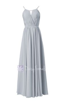 Elegant Silver Chiffon Bridesmaid Dress Long Pleated Formal Dress(BM10826L) in dark teal