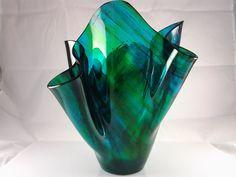 Fused Glass Vase Blue Green Art Glass Vase by AngelasArtGlass