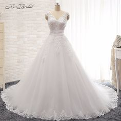 Cheap dress long train, Buy Quality long train directly from China a-line wedding dress Suppliers: robes de mariees grande taille Elegant A-line Wedding Dresses Sleeveless Corset Back Lace Bride Dress Long trains