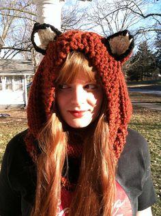 Fox Hoodie Hood Cowl Hand Knit  Soft Acrylic Wool par ThatGirlKnitz, $48.00