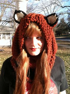 Fox Hoodie, Hood, Chunky Knit Cowl,  Hand Knit, Animal Ear Hoodie,  Fall Fashion, Trending Accessories, Knit Hat, Cosplay, Gift Under 50 on Etsy, $48.00