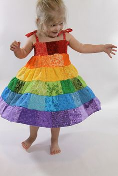 Rainbow Patchwork Sundress~So making this for Lillianna!