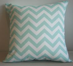 Aqua Chevron Cushion