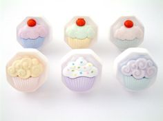 Set Of Six Cupcake Cupboard Knobs - Handmade by Candy Queen Designs