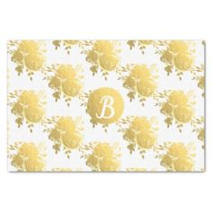 Gold Faux Foil Shiny Glam Roses Monogram Custom Tissue Paper - wedding shower gifts party ideas diy cyo personalize