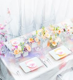 watercolor wedding decoration — Wedding Ideas, Wedding Trends, and Wedding Galleries Pastel Wedding Theme, Wedding Themes, Wedding Decorations, Table Decorations, Wedding Ideas, Wedding Inspiration, Pastel Weddings, Pastel Party, Wedding Blog