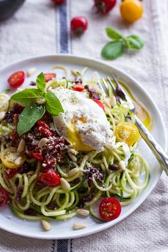 15-Minute Zucchini Pasta w- Poached eggs and Quick Heirloom Cherry Tomato Basil Sauce | halfbakedharvest.com